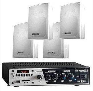 Amplificador para Som Ambiente SLIM1000 + 4 Cxs PS200 Branca