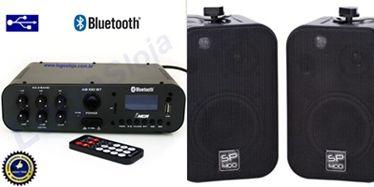 Amplificador SA100BT NCA ( Bluetooth ) + 1 PAR Caixa SP400 PRETA