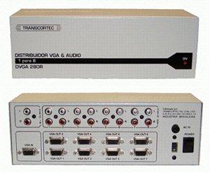 Distribuidor de vídeo VGA/WXGA 1 entrada e 8 saídas c/ áudio RCA (L/R) - DVGA280R