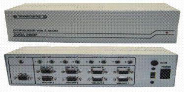 Distribuidor de vídeo VGA/WXGA 1 entrada e 8 saídas c/ áudio P2 - DVGA280P