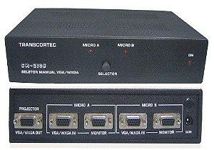 Seletor de Vídeo VGA/WXGA 2 Entradas c/ by-pass e 1 saída. (c/ 1 Cabo S-VGA). (Fonte Externa) - SA210EA