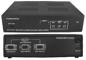 Seletor Automático de Vídeo VGA/WXGA 2 Entradas e 1 Saída c/ Áudio P2 - SA2101P