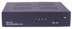 Seletor de video VGA/WXGA 4 entradas e 1 saída. (c/ 4 Cabos S-VGA). (c/ Controle Remoto) SM410RE