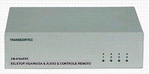 Seletor de Video VGA/WXGA 4 Entradas e 1 saída c/ Áudio RCA (L/R). (c/ Controle Remoto) - SM410ARRE