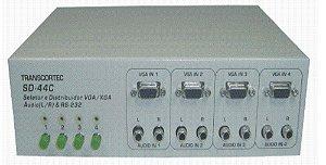 Seletor de video VGA/WXGA 4 entradas e 4 saídas iguais c/ áudio RCA (L/R) SD440AR