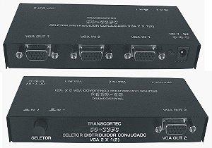Seletor/Distribuidor de Video VGA/WXGA 2 Entradas e 2 Saídas Iguais. (Fonte Externa) - SD22EC
