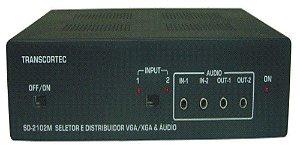 Seletor/Distribuidor de Video VGA/WXGA 2 Entradas e 2 Saidas Iguais c/ Áudio P2 - SD2002P