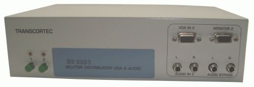 Seletor/Distribuidor de Vídeo VGA/WXGA 2 Entradas c/ by-pass e 2 Saídas Iguais c/ áudio RCA (L/R) e Interface RS-232 - SD202C
