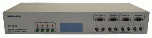 Seletor/Distribuidor de Video VGA/WXGA 4 Entradas c/ by-pass e 4 Saidas Iguais c/ áudio RCA (L/R) e Interface RS-232. - SD404C
