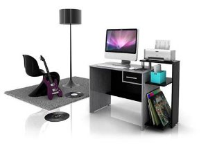 Mesa para Microcomputador Província Play cor Carvalho Bianco c/ Preto