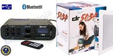 Amplificador AB100BT NCA ( Bluetooth ) + 1 PAR Caixa Gesso DR5034