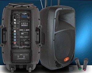CAIXA DE SOM ATIVA DR12 BAT DONNER, BATERIA / USB / BLUETOOTH / FM/ 2 MICROFONE SEM FIO E CARRINHO DE TRANSPORTE