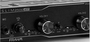 AMPLIFICADOR PARA SOM AMBIENTE FRAHM SLIM 2500 APP / USB / BLUETOOTH e ZONA 2