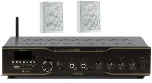 Amplificador Frahm Slim 3000BT app + 2 caixas PS200 brancas