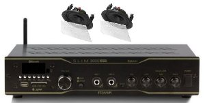 Amplificador Frahm Slim 3000BT app + 2 caixas gesso BSA S2 brancas