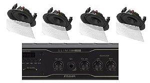 Amplificador Frahm Slim 1000BT app + 4 caixas gesso BSA S2 brancas