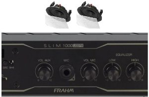 Amplificador Frahm Slim 1000BT app + 2 caixas gesso BSA S2 brancas