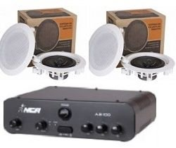 Amplificador AB100 NCA + 2 Pares Caixa Gesso DR500