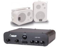 Amplificador AB100 NCA + 1 Par Caixa SP400 Branca