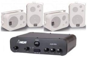Amplificador AB100 NCA + 2 Pares Caixa SP400 Branca