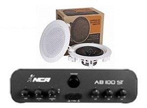 Amplificador AB100ST  NCA + 1 PAR Caixa Gesso DR500