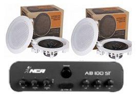 Amplificador AB100ST  NCA + 2 Pares Caixa Gesso DR500