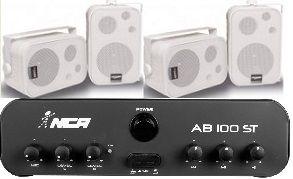 Amplificador AB100ST NCA + 2 Pares Caixa SP400 Branca