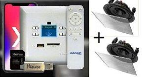 Amplificador de Parede AMCP c/ FM, BT e APP KPBT-XT + Par de Caixa Gesso S2