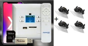Amplificador de Parede AMCP c/ FM, BT e APP KPBT-XT + 2 Pares de Caixa Gesso S2