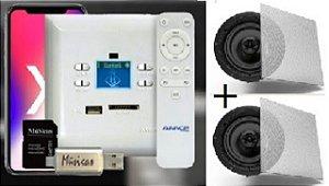 Amplificador de Parede AMCP c/ FM, BT e APP KPBT-XT + Par de Caixa Gesso S-3