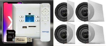 Amplificador de Parede AMCP c/ FM, BT e APP KPBT-XT + 2 Pares de Caixa Gesso S-3