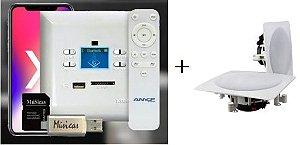 Amplificador de Parede AMCP c/ FM, BT e APP KPBT-XT + Par de Caixa Gesso Dr650