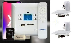 Amplificador de Parede AMCP c/ FM, BT e APP KPBT-XT + 2 Pares de Caixa Gesso Dr650
