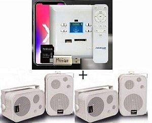 Amplificador de Parede AMCP c/ FM, BT e APP KPBT-XT + 2 Pares Caixa SP400 branca