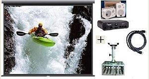 Tela de Projeção Retrátil TES 100¨+ Suporte Gaiola+Cabo HDMI+Kit Som SP400