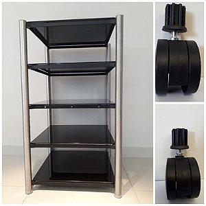 RACK AIRON HT 50.02 BLACK prateleira vidro + coluna inox + rodízio