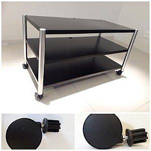 Rack Airon HT-100.03 aço  black, coluna Inox + 4 Rodízios 7,5cm