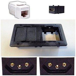 Caixa de Mesa AVMS04 AV LIFE + 2 tomadas 3P, 1 módulo HDMI, 1 módulo RJ45