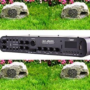 Kit Jardim Soundstone - 1 Amplificador SA2600 + 4 Caixas Pedra PD-8