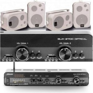 Amplificador Frahm Slim 2700 Óptico com 2 zonas de áudio + 4 Caixas SP400