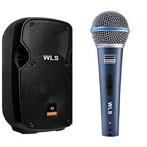 Caixa Acústica WLS S8  Ativa com Bluetooth + Microfone M58A