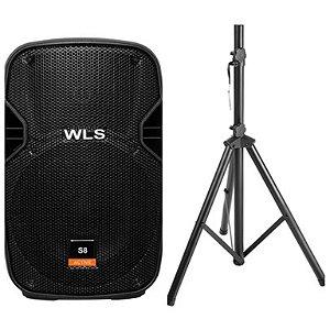Caixa Acústica WLS S8 Ativa com Bluetooth + Pedestal ST002 1,80m