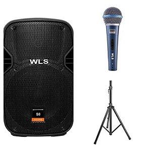 Caixa Acústica WLS S8 Ativa + Caixa S8 Passiva + 2Pç Pedestal ST002 + Microfone M58A