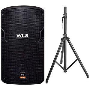 Caixa Acústica WLS S10 Ativa com Bluetooth + Pedestal ST002 1,80m