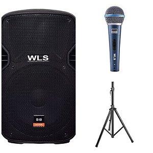 Caixa Acústica WLS S10  Ativa com Bluetooth + Microfone M58A + Pedestal ST002 1,80m