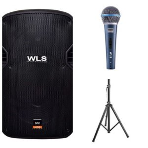 Caixa Acústica WLS S12  Ativa com Bluetooth + Microfone M58A + Pedestal ST002 1,80m