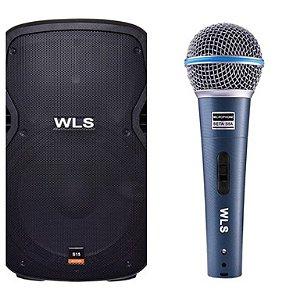 Caixa Acústica WLS S15  Ativa com Bluetooth + Microfone M58A