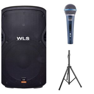 Caixa Acústica WLS S15  Ativa com Bluetooth + Microfone M58A + Pedestal ST002 1,80m