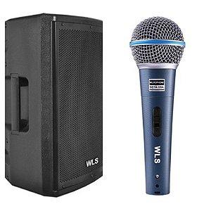 Caixa Acústica WLS PA 15 PRO + Microfone WLS M58A com fio