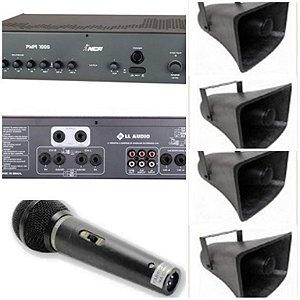 Corneta Balde Fibrasom G 085 ( 4 pç ) + Amplificador com Gongo + Microfone